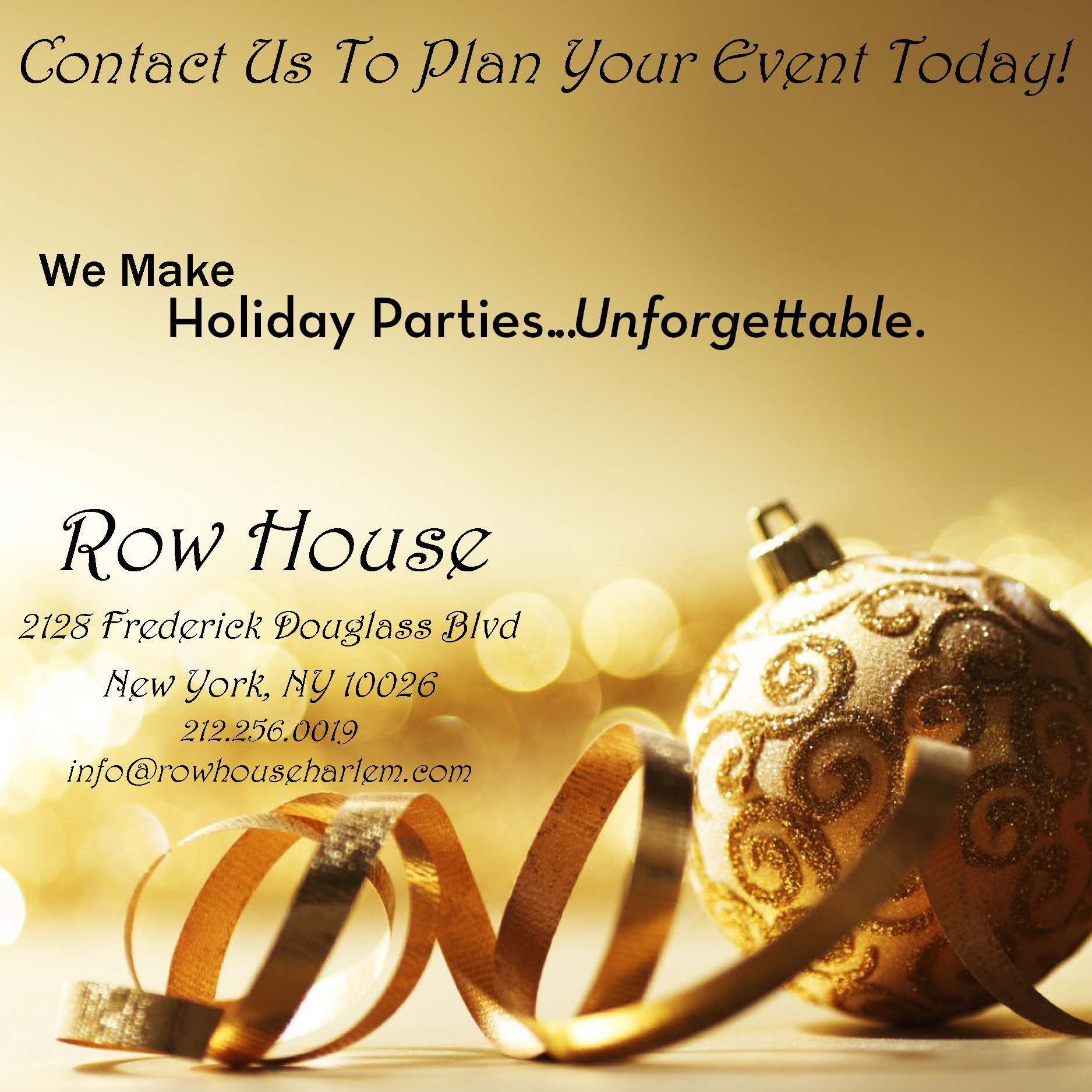 Holiday Parties @ Row House & Under Bar