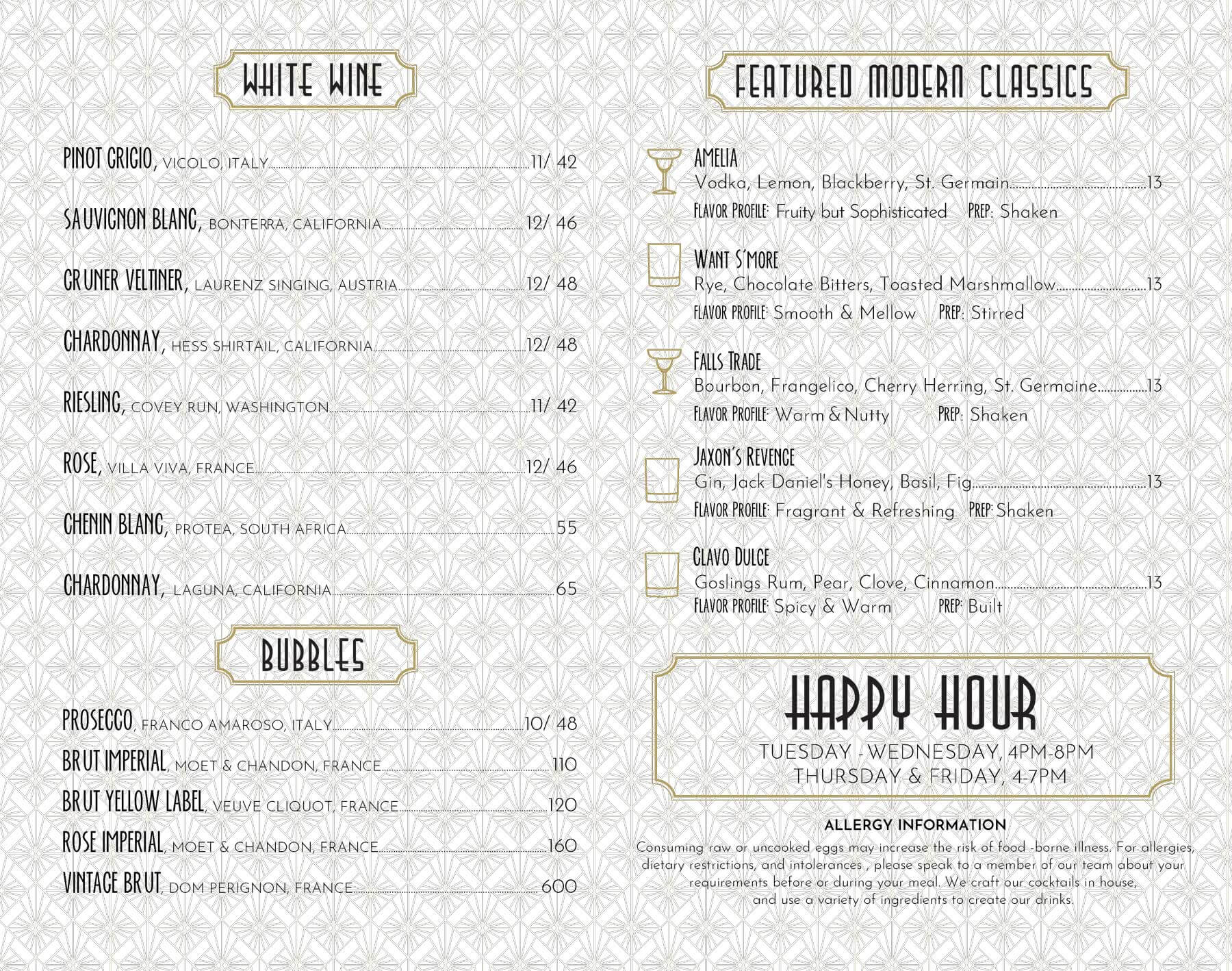 Row House Drink Menu
